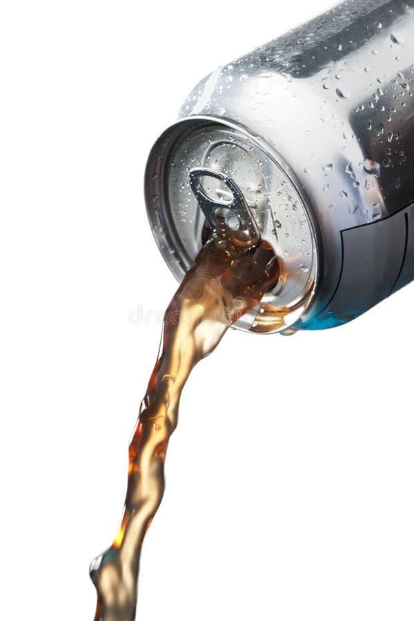 Os refrescos de derramamento podem dentro fotografia de stock