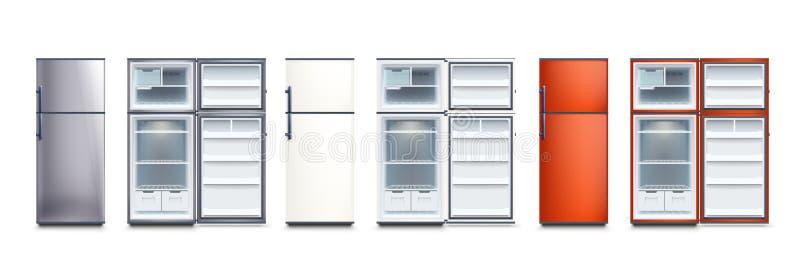 Os refrigeradores ajustados abrem e fechado ilustração royalty free