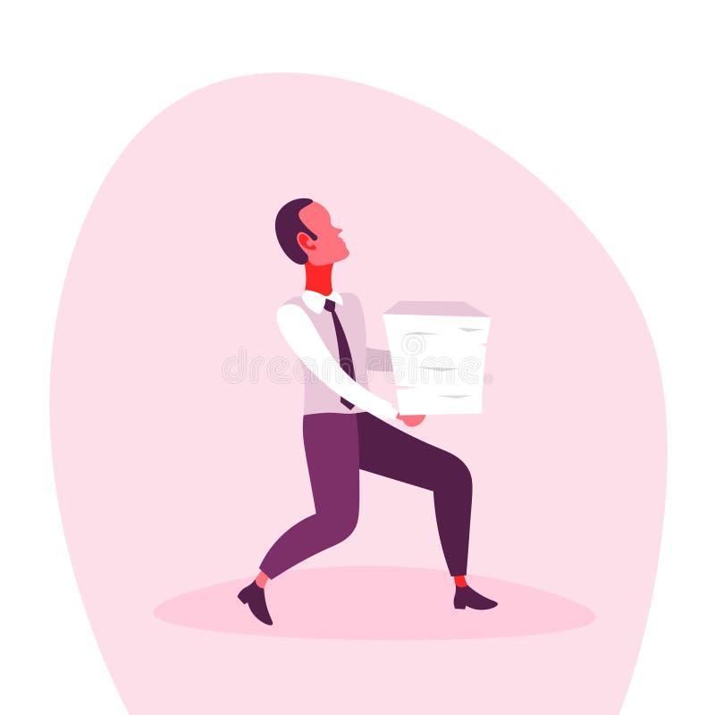 Os relatórios levando do excesso de trabalho do esforço da carga do documento da pilha de originais de papel do homem de negócios ilustração stock