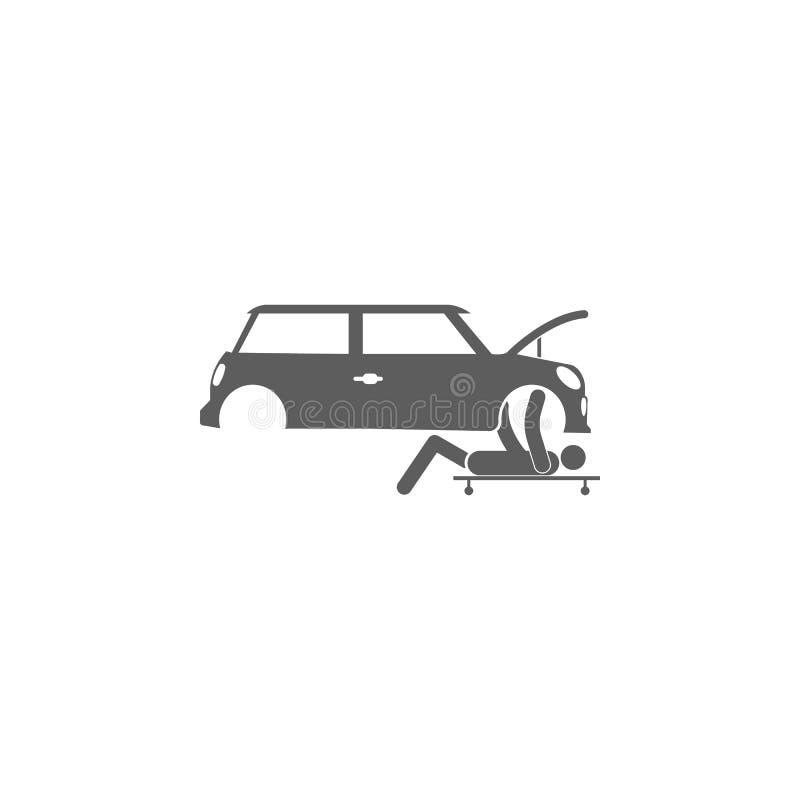 Os reparos da pessoa sob o ícone do carro Elementos do ícone do reparo do carro Projeto gráfico da qualidade superior Os sinais,  ilustração stock