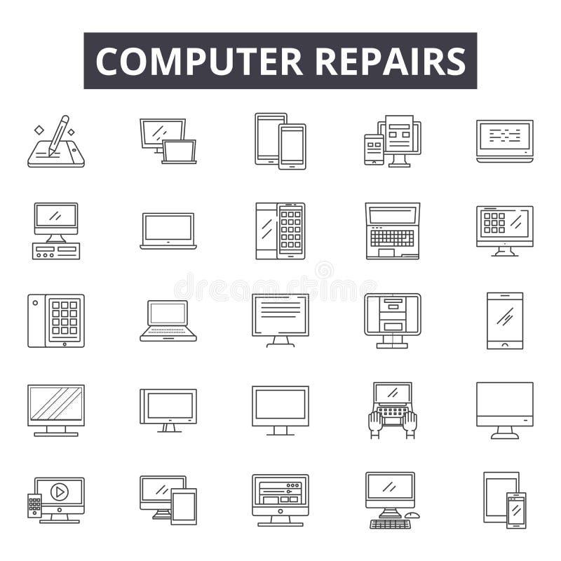 Os reparos do computador alinham ícones, sinais, grupo do vetor, conceito linear, ilustração do esboço ilustração do vetor
