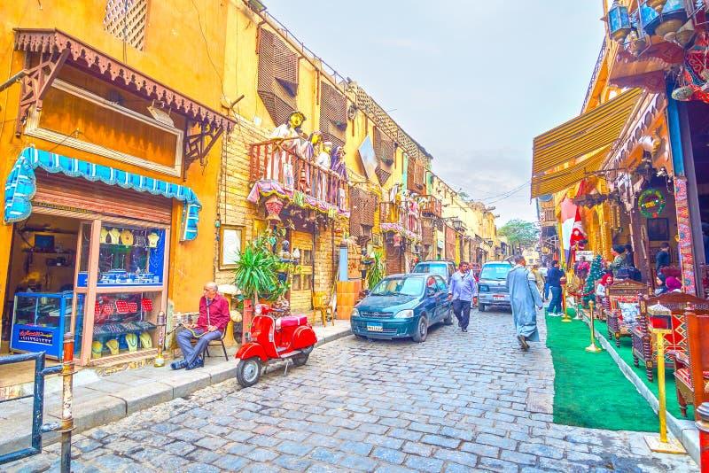Os restaurantes cênicos na rua do al-Muizz, o Cairo, Egito fotografia de stock