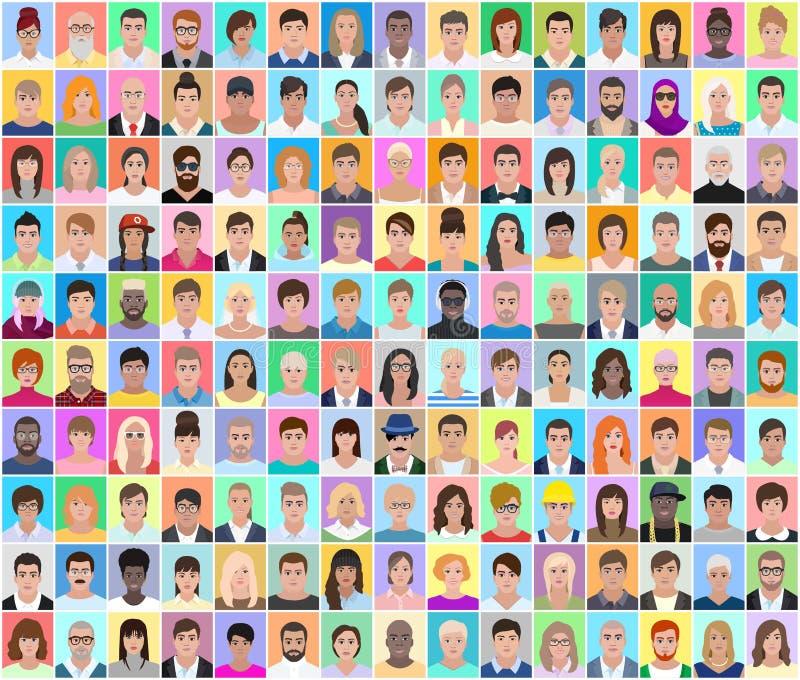 Os retratos de povos diferentes, colagem colorida, vector o illustrat ilustração do vetor