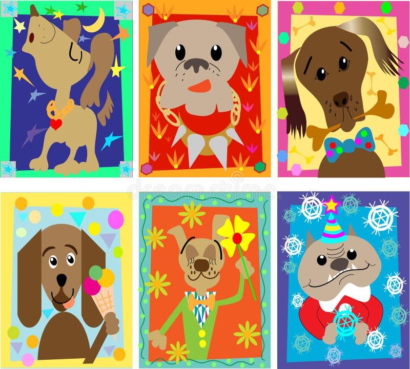 Os retratos engraçados dos cães imagem de stock