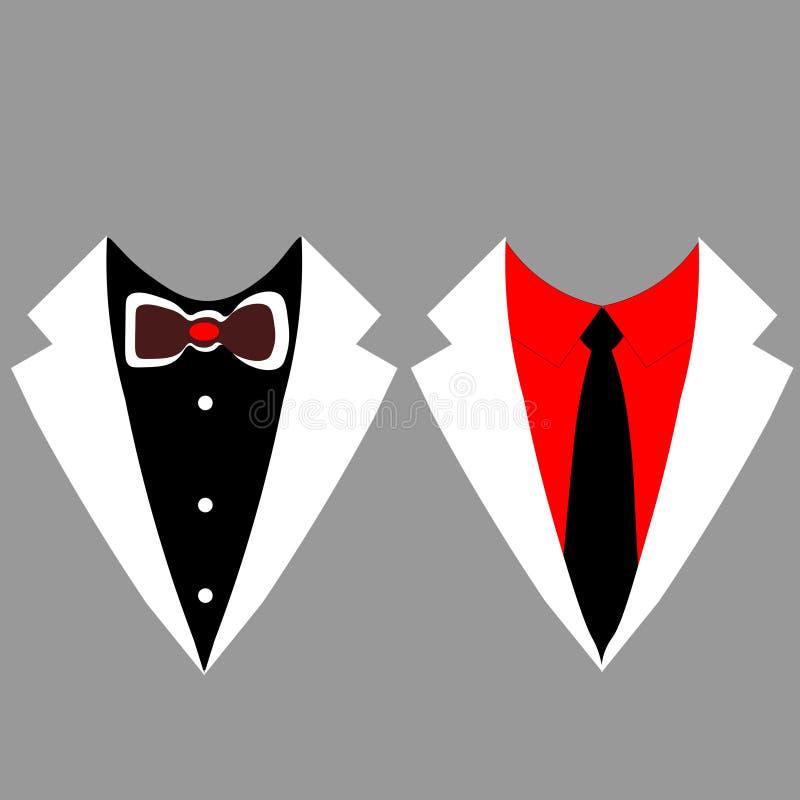 Os revestimentos dos homens da Web smoking Ternos do casamento com la?o e com gravata Ilustra??o do vetor ilustração do vetor