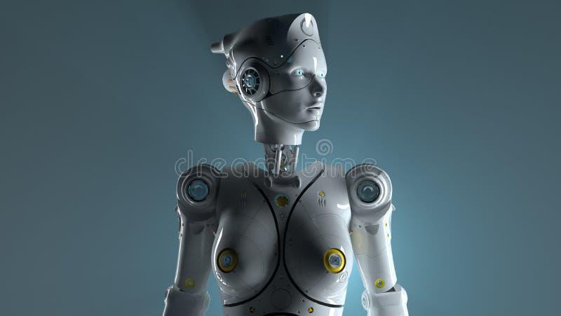 Os robôs 3d de Sai fi rendem ilustração stock