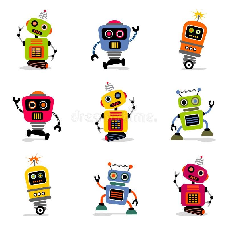 Os robôs do vetor ajustaram 2 ilustração do vetor