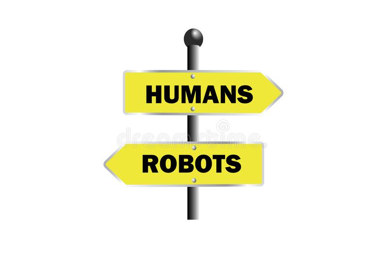 os robôs dos seres humanos assinam a placa de sentido amarela da placa da direita para a esquerda ilustração royalty free
