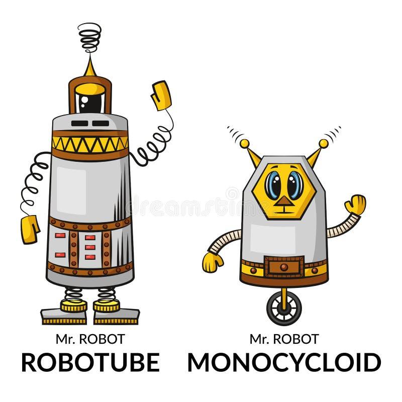 Os robôs dos desenhos animados ajustaram-se ilustração royalty free