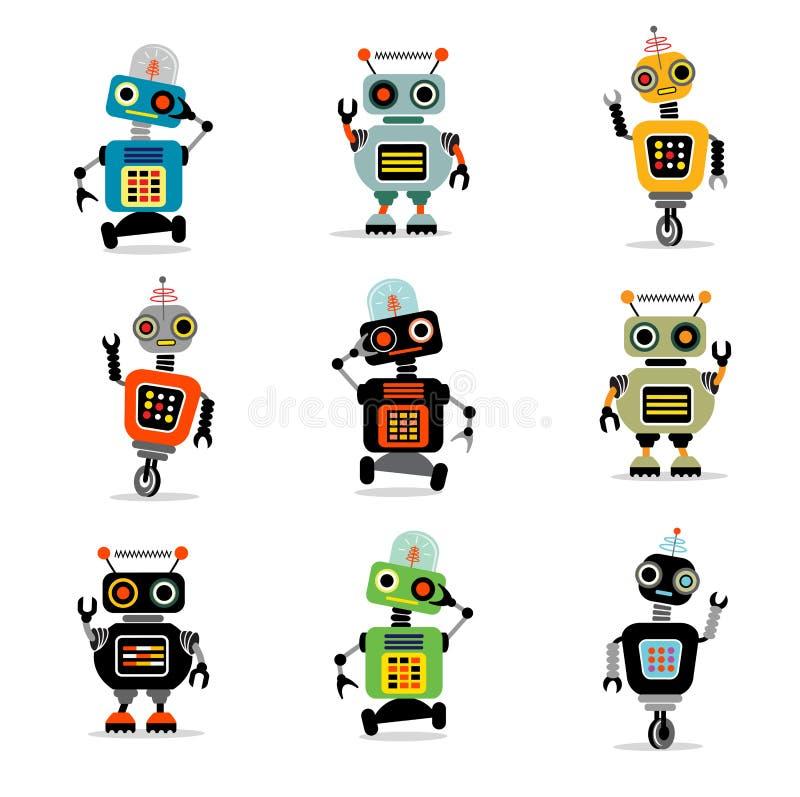 Os robôs pequenos ajustaram 3 ilustração stock