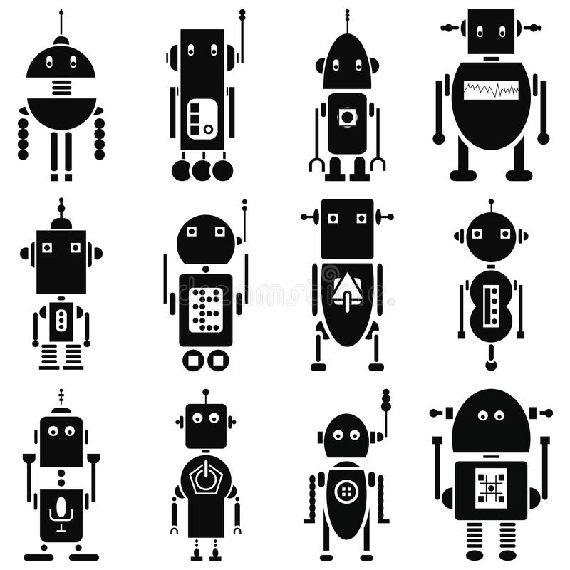 Os robôs retros do vintage 2 ícones ajustaram-se em preto e branco ilustração do vetor