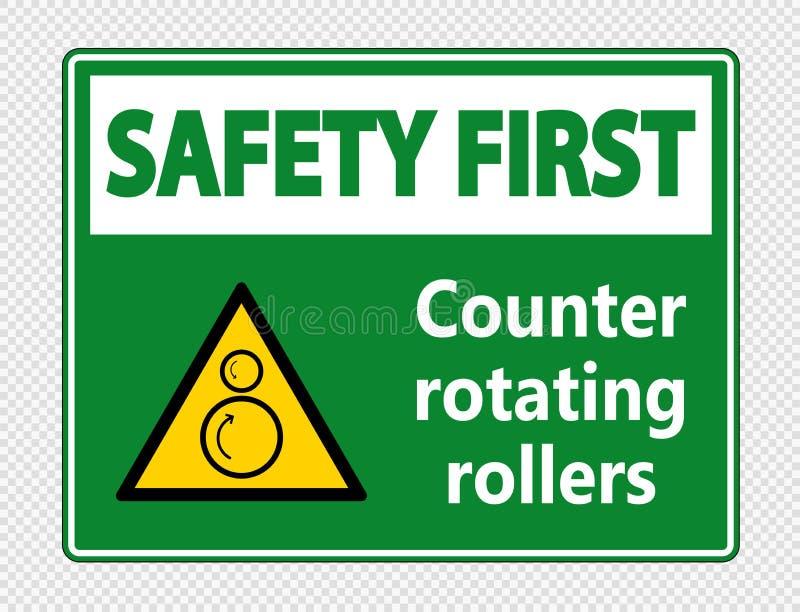 os rolos de gerencio do contador da segurança em primeiro lugar do símbolo assinam no fundo transparente ilustração royalty free
