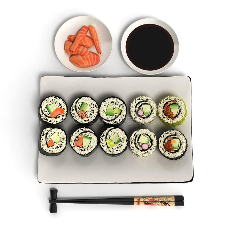 Os rolos de sushi japoneses em linha 3d do alimento rendem no branco ilustração royalty free