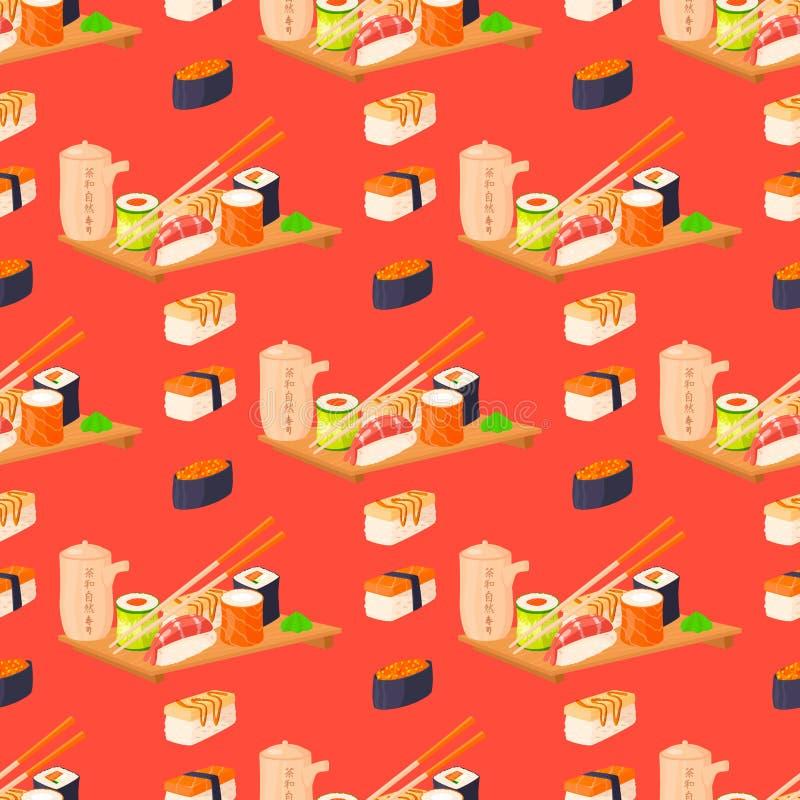 Os rolos de sushi vector o teste padrão sem emenda do alimento e da ilustração crua fresca tradicional gourmet japonesa do petisc ilustração stock