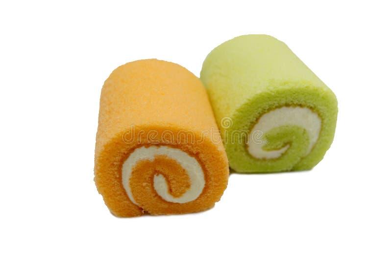 Os rolos do doce endurecem a cor alaranjada e verde fotografia de stock