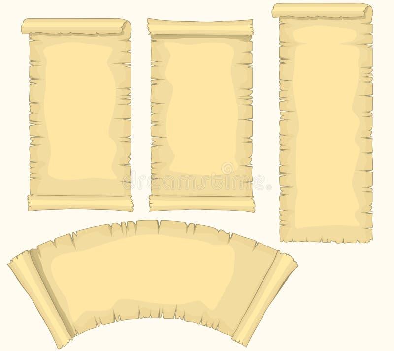 Os rolos do papiro ajustaram-se, rolo envelhecido do papel vazio, molde amarelado medieval do manuscrito, do diploma ou do certif ilustração stock