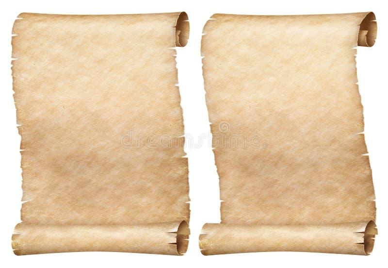 Os rolos similares do papel ou do pergaminho ajustaram-se isolado no branco fotos de stock royalty free