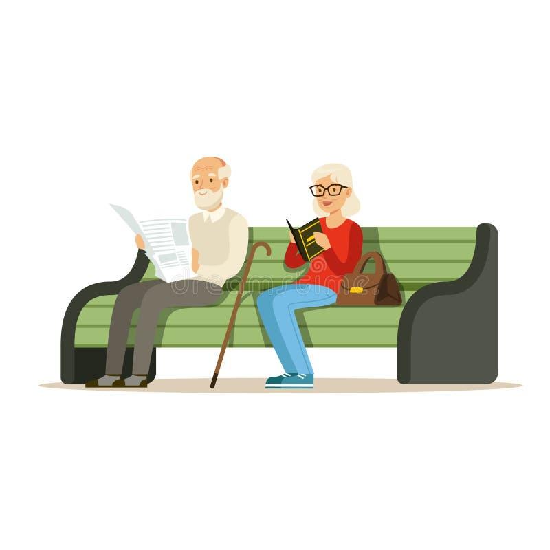 Os sêniores que sentam-se em caráteres coloridos de um banco de madeira e dos livros de leitura vector a ilustração ilustração royalty free