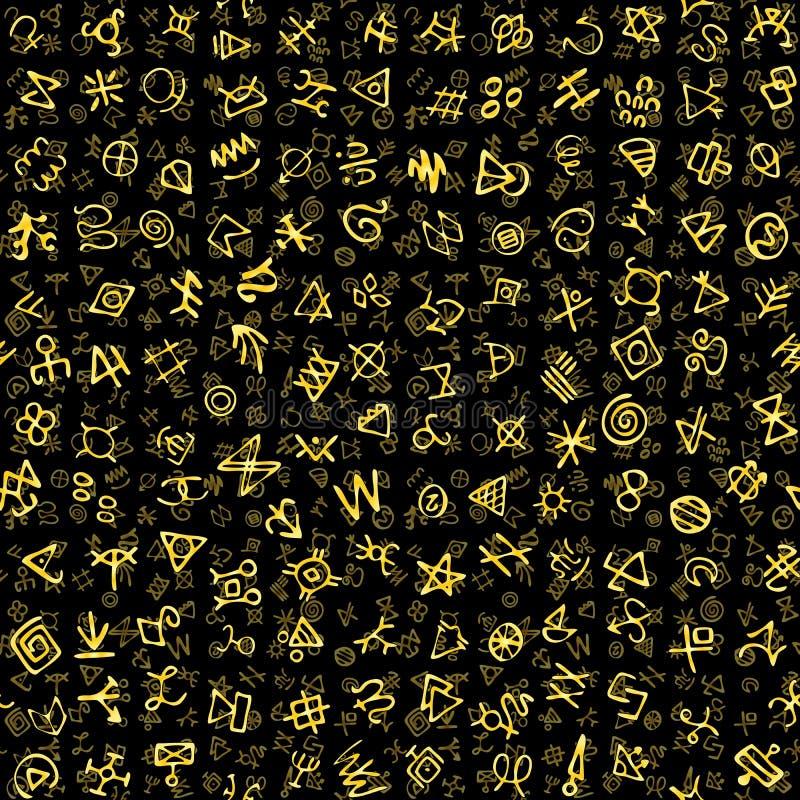 Os símbolos antigos dourados caóticos encantam o fundo sem emenda do teste padrão dos sinais mágicos ilustração do vetor