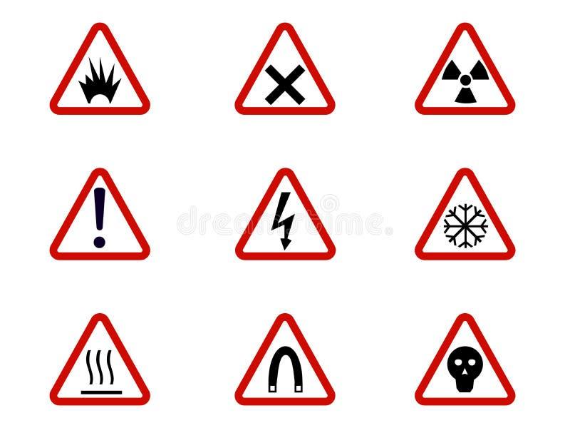 Os símbolos da advertência e do perigo em triângulos vector a coleção A segurança e o cuidado, arriscam a ilustração alerta da in ilustração royalty free