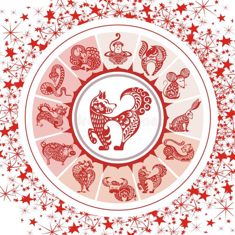 Os símbolos da astrologia e místico assinam dentro cores vermelhas ilustração do vetor