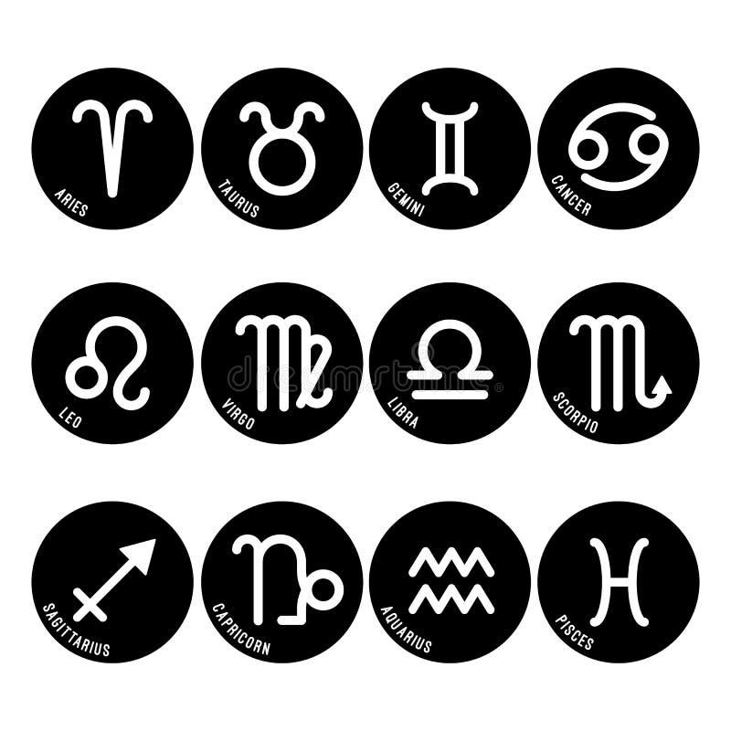 Os símbolos da astrologia, vetor dos sinais do zodíaco isolaram ícones ilustração do vetor