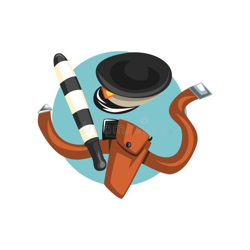 Os símbolos da profissão do oficial de polícia de trânsito, da mangueira da água, da tesoura de podar manual e dos desenhos anima ilustração stock