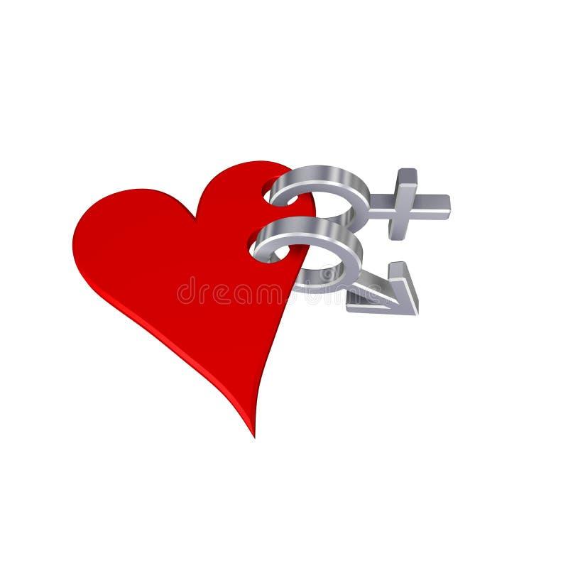 Os símbolos de sexo do cromo lig com o coração. ilustração royalty free