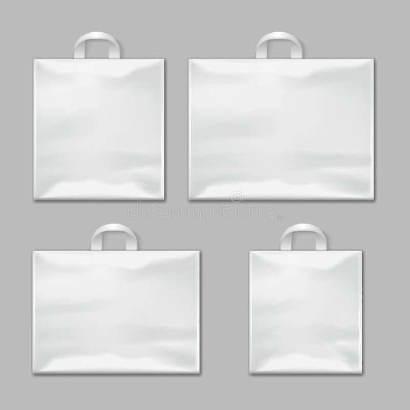 Os sacos de compras plásticos reusáveis vazios brancos com punhos vector moldes, modelos do projeto ilustração do vetor