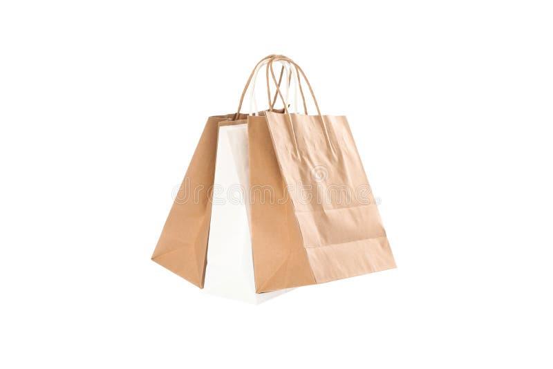 Os sacos de papel vazios isolaram-se foto de stock