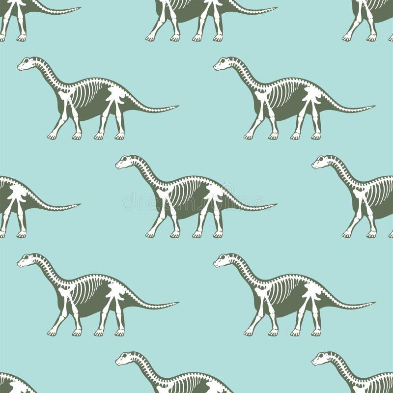 Os sans couture de fossile de modèle de silhouettes de squelettes de dinosaures illustration de vecteur