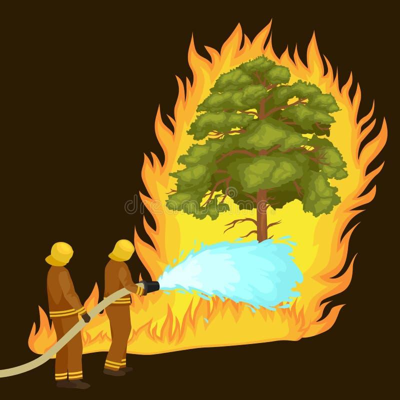 Os sapadores-bombeiros no vestuário de proteção e no capacete com helicóptero extinguem com água do incêndio violento perigoso da ilustração royalty free
