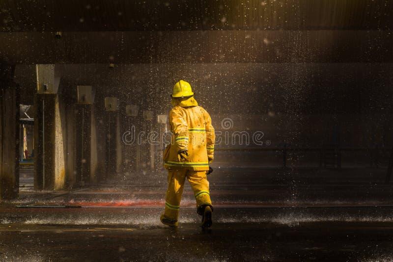 Os sapadores-bombeiros que treinam, primeiro plano são gota do springer da água, Sel fotos de stock royalty free
