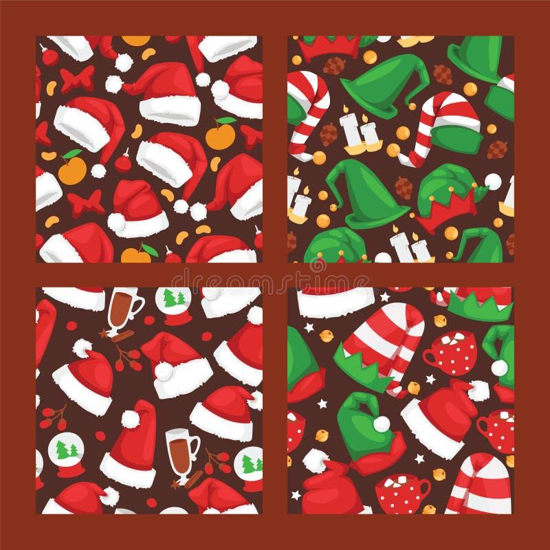Os seamlesss vermelhos do noel do vetor do chapéu de Santa Claus do Natal modelam o partido do Xmas dos cristãos do ano novo da i ilustração royalty free