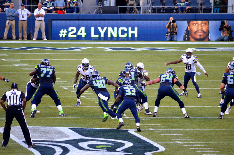 Os Seattle Seahawks CONTRA San Diego Chargers 2014 fotos de stock royalty free