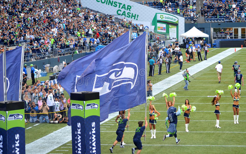Os Seattle Seahawks tomam o campo fotos de stock royalty free