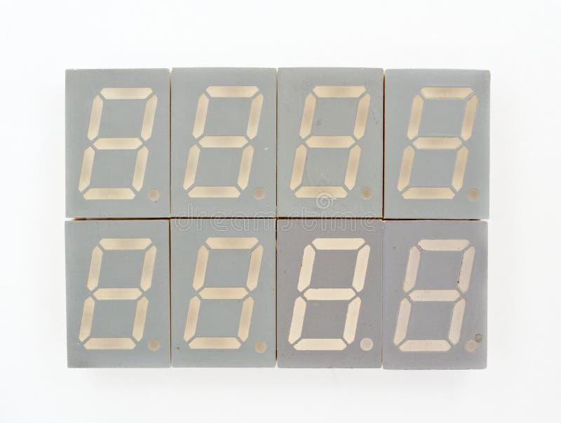 Os segmentos de um dígito sete conduziram a exposição imagem de stock