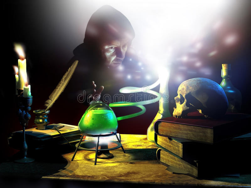 Os segredos do alquimista ilustração do vetor