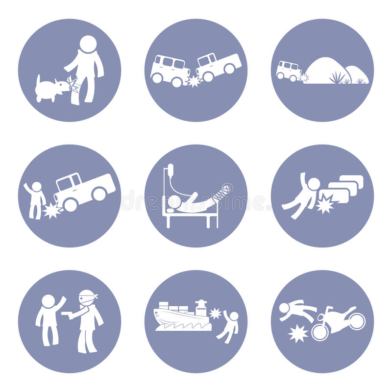 Os seguros datilografam e o ícone do acidente pictograma ajustado para o fundo do conceito do negócio da apresentação dentro ilustração royalty free