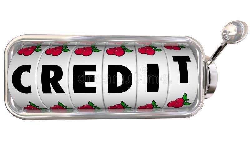 Os seletores das rodas do slot machine do crédito melhoram o empréstimo segunda-feira da avaliação da contagem ilustração do vetor