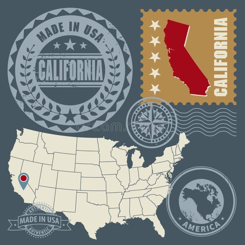 Os selos abstratos do cargo ajustaram Califórnia, EUA ilustração royalty free