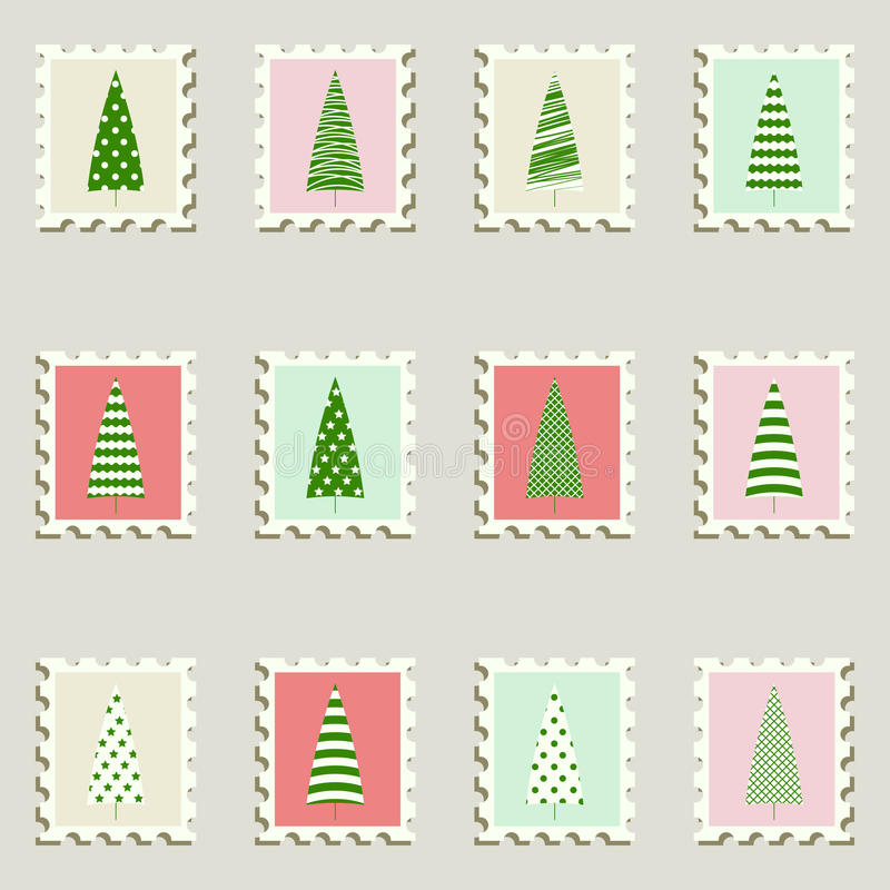 Os selos postais ajustaram abeto. ilustração do vetor
