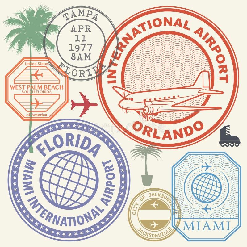 Os selos retros do aeroporto dos EUA do porte postal ajustaram o estado de Florida ilustração royalty free