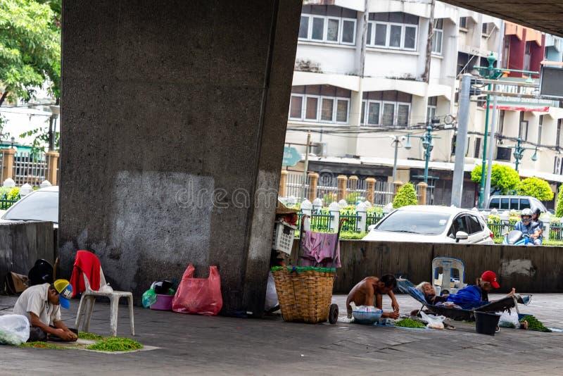 Os sem-abrigo de Banguecoque Tailândia imagem de stock