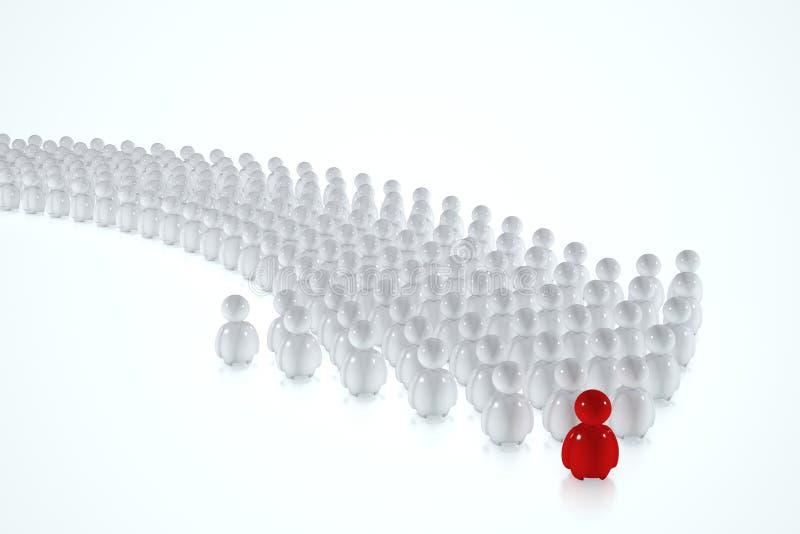 os seres humanos 3d seguem um líder vermelho ilustração royalty free