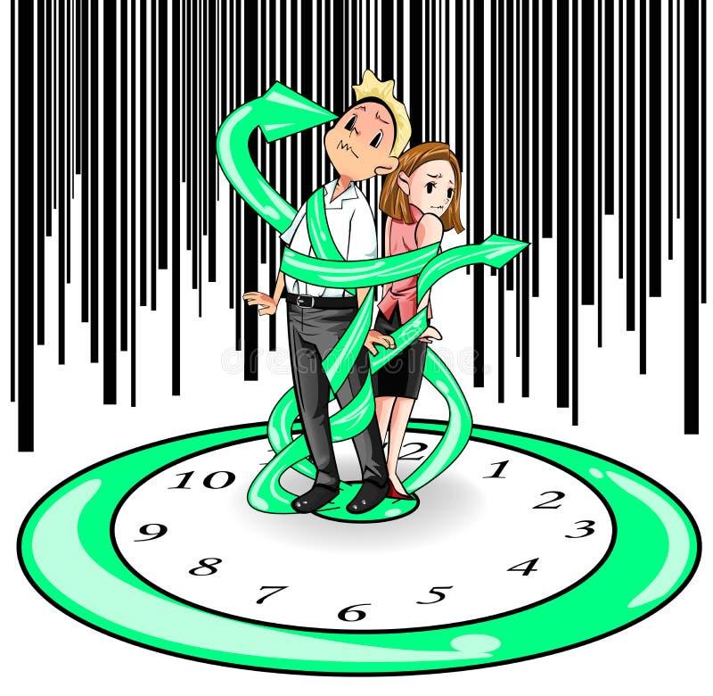 Os seres humanos são encarcerados no tempo (o vetor) ilustração stock