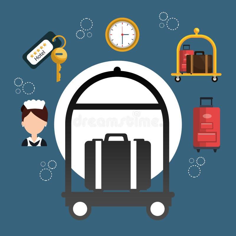 Os serviços de hotel ajustaram ícones ilustração royalty free