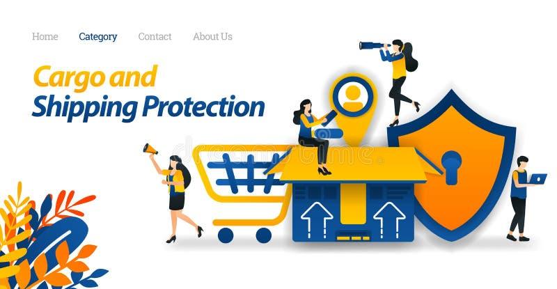 Os serviços de transporte protegem todos os tipos de pacotes e de carga com segurança máxima até a colocação de etiquetas dos cli ilustração royalty free