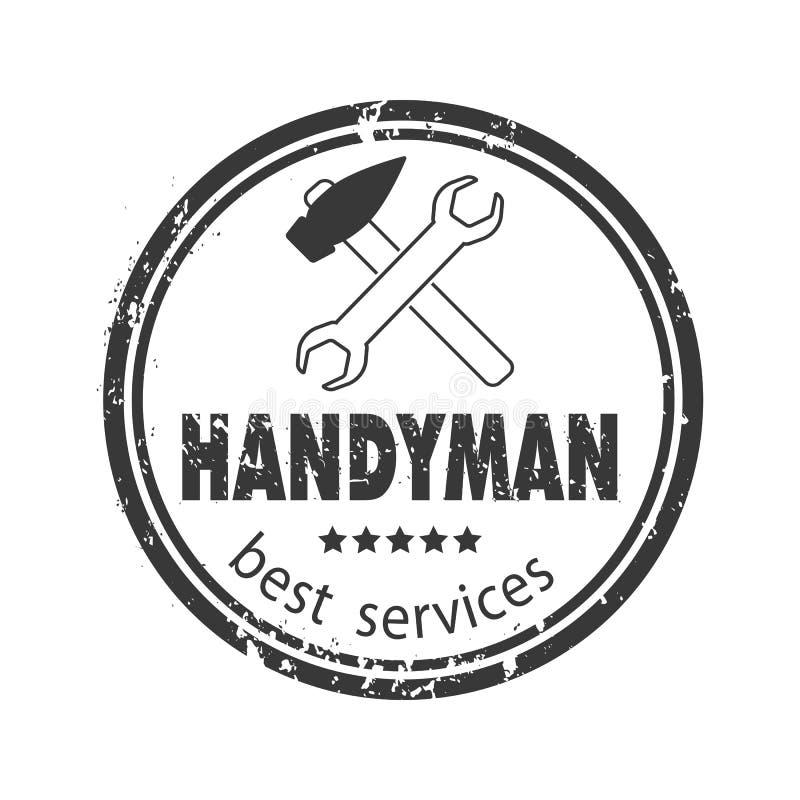 Os serviços do trabalhador manual projetam para seu logotipo ou emblema com selo cinzento no fundo branco Grupo de ferramentas do ilustração do vetor