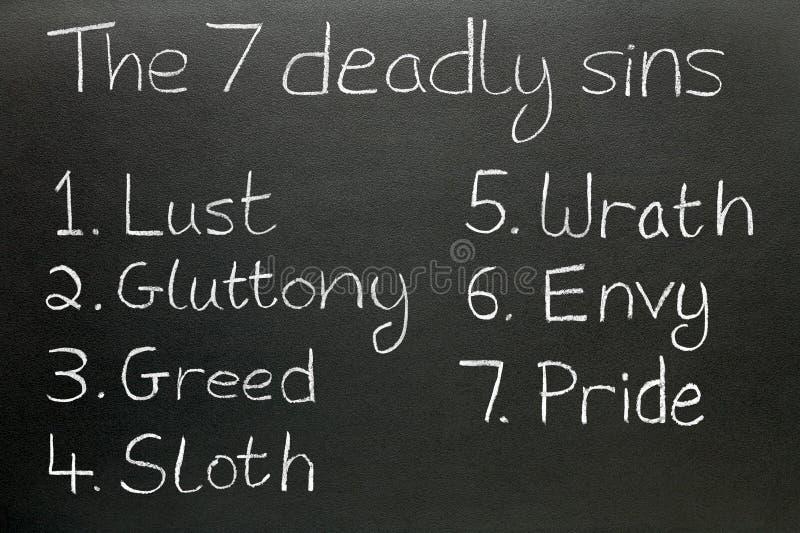 Os sete pecados mortais. imagem de stock royalty free